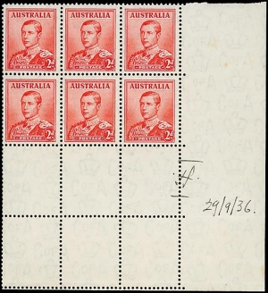 Australia King Edward VIII block of six stamps
