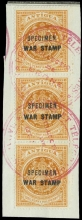 Antigua Specimen War Stamp 1918 1½d. orange, a vertical strip of three