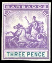 Barbados stamps: 1892 Imperforate colour trial for unissued 3d., in reddish violet and green