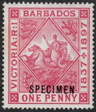 Barbados 1897 Diamond Jubilee of Queen Victoria One penny Specimen Stamp