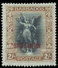 Barbados 1920-1921 Victory 3s Stamp overprinted SPECIMEN