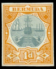 Bermuda 1902 1d Dry Dock Color Trial