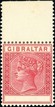 Rare Gibraltar stamp: SG23b Value Omitted (No Value) Error