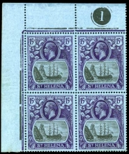 Saint Helena 1922-37 Colonies Badge 15 s in an upper left corner marginal plate no. block of four