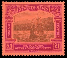 1923 Saint Kitts-Nevis Tercentenary £1 stamp