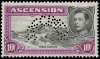 Ascension 1938-53 King George VI 10/- Specimen stamp