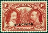 Barbados 1927 Tercentenary Of Settlement Stamp overprinted Specimen