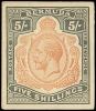 Trial Color Proofs of the King George V Five Shillings stamp of Bermuda