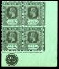Leeward Islands stamps: 1s. (Die I) black on emerald, corner marginal block of four (Die I), with D I flaw