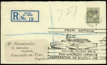 Antigua Airmails 1931 envelope registered to England franked by 1921-29 3s cancelled by 'ST. JOHN'S/ANTIGUA c.d.s., and large cachet FROM ANTIGUA/SPECIAL FLIGHT DO-X/PAN-AMERICAN AIRWAYS/COOPERATING AS SPECIAL AGENTS