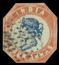 India stamp 1854-55 4a. indigo and deep red, Head Die II, Frame Die I, used