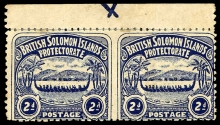 British Solomon Islands Stamps 1907 Large Canoe 2d. pair imperforate between SG 3a