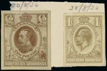 Northern Rhodesia 1924 (20 Aug.) 1/- and Revenue £2 unadopted designs