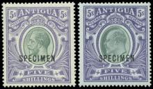 Antigua Large Seal 5 Shillings Specimen Stamps 1903-1919