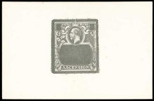 Ascension stamps: 1924-33 Badge Issue Die Proof Frame master