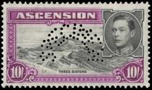 Ascension 1938-53 King George VI 10/- Specimen stamp