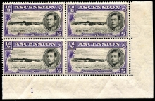 Ascension 1938 KGVI 1/2d block of four stamps