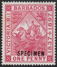 Barbados 1897 Diamond Jubilee of Queen Victoria One penny Specimen Stamp