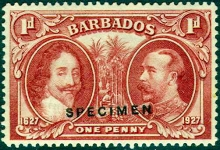 Barbados 1927 Tercentenary Of Settlement Stamp overprinted Specimen