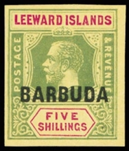 Barbuda 1922-1923 KGV 5 Shillings Overprinted Stamp Imperf Plate proof in issued colour