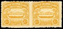 British Solomon Islands 1907 Large Canoe 2 1/2d orange-yellow pair of stamps imperforate between SG 4b