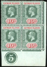 Cayman Islands: 1912-20 wmk. Mult. Crown CA 10s. stamp deep red and green on blue-green (olive back), mint block of four, lower right corner marginal with plate no. 5. S.G. 52c