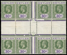 Ceylon stamps 1921-32  Mult. Script CA 30c. yellow-green and violet