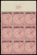 Gibraltar SG 2 One penny Bermuda overprint block of 9 with number of the plate 29