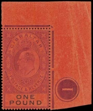 Gibraltar SG55 £1 corner stamp with plate No. 1
