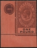 Gibraltar SG85 One Pound stamp with plate No. 1