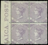 Jamaica stamps 1860-70 Watermark Pineapple 6d., SG 5, block of four, marginal from the left of the sheet with part inscription