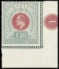 Natal Stamp 1902 Crown CC £20 red and green, a lower right corner example with plate number 1